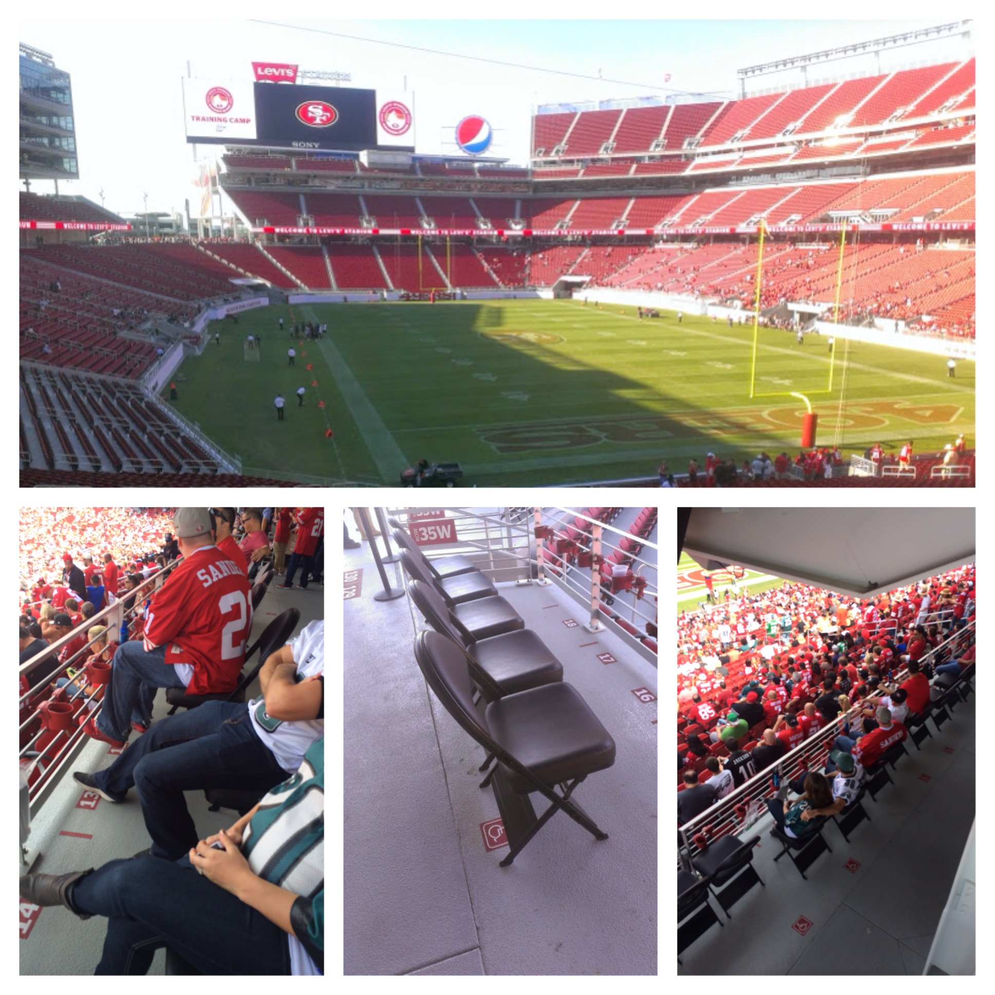 49ers Corner Great Angle Under Overhang EXTRA Leg room Padded Seats